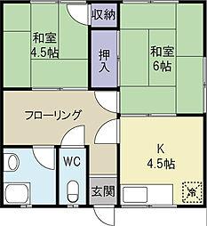 畑間アパート[202号室]の間取り