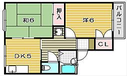 大阪府茨木市沢良宜西2丁目の賃貸アパートの間取り