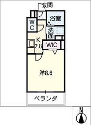 メゾン加納栄町通E 2階1SKの間取り