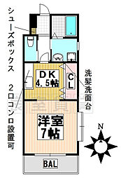 愛知県名古屋市名東区亀の井1丁目の賃貸アパートの間取り
