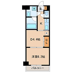 仙台市地下鉄東西線 川内駅 徒歩24分の賃貸マンション 7階1DKの間取り