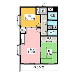 グリーンクレスト杁中 S棟[2階]の間取り