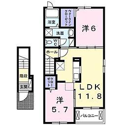 徳島県板野郡藍住町東中富字敷地傍示の賃貸アパートの間取り