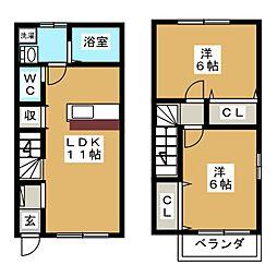 [テラスハウス] 愛知県海部郡蟹江町西之森1丁目 の賃貸【/】の間取り