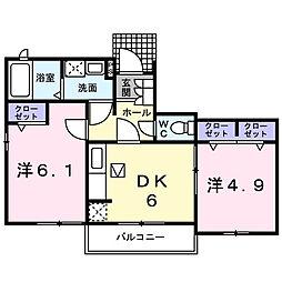 広島県東広島市黒瀬町菅田の賃貸アパートの間取り