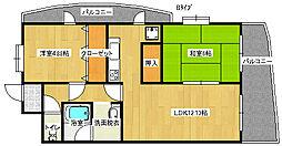 ペガサスII番館住之江[4階]の間取り