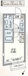 東急目黒線 不動前駅 徒歩7分の賃貸マンション 4階1Kの間取り
