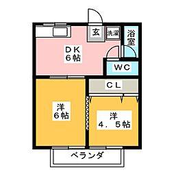 コーポ安田 A[2階]の間取り