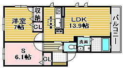 モンスティル津久野[B202号室]の間取り
