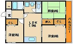 コーポ貴崎[4階]の間取り