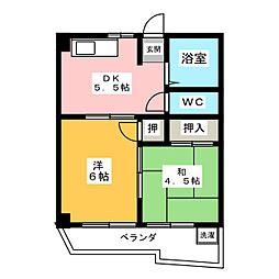 ハニーハイツ[4階]の間取り