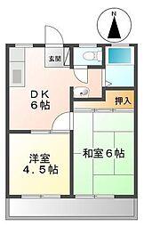 カマダハイツA・B[A201号室]の間取り
