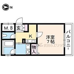 近鉄京都線 東寺駅 徒歩2分の賃貸マンション 2階1Kの間取り