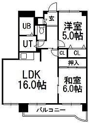 カクマン中央グローリーマンション[601号室]の間取り