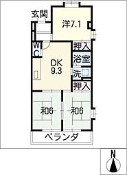 愛知県名古屋市西区中沼町の賃貸マンションの間取り