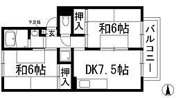 兵庫県伊丹市緑ケ丘5丁目の賃貸アパートの間取り