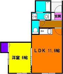 静岡県浜松市浜北区中瀬の賃貸アパートの間取り