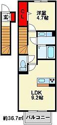 ロザII B棟[206号室]の間取り