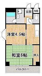 西野田ハイツ[3階]の間取り