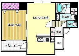 デセンテ北梅田[5階]の間取り