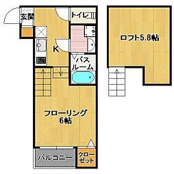 六本松 新築アパート[2階]の間取り