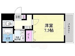 近鉄京都線 東寺駅 徒歩3分の賃貸マンション 2階1Kの間取り