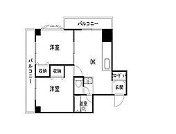 神奈川県横浜市中区本牧町2丁目の賃貸マンションの間取り