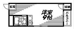 京阪本線 守口市駅 徒歩4分の賃貸マンション 4階ワンルームの間取り