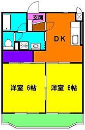 静岡県磐田市西貝塚の賃貸マンションの間取り