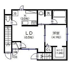 東急世田谷線 上町駅 徒歩7分の賃貸アパート 1階1LDKの間取り