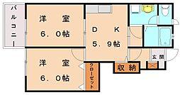 福岡県宗像市村山田の賃貸アパートの間取り