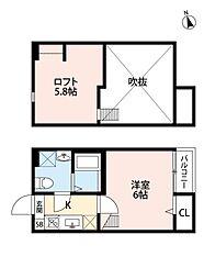 ビオ新松戸[203号室号室]の間取り