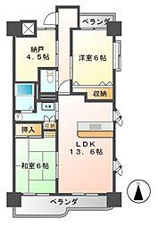 愛知県名古屋市港区築盛町の賃貸マンションの間取り