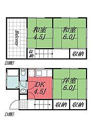 [テラスハウス] 千葉県千葉市若葉区桜木5丁目 の賃貸【/】の間取り
