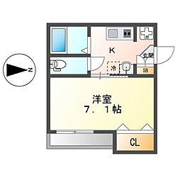 アゼストレント桜本町II(AZEST-RENT 1階1Kの間取り