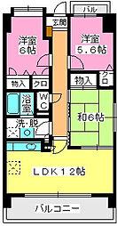 ビーウィズ美野島[6階]の間取り