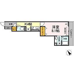 横浜市営地下鉄グリーンライン 中山駅 徒歩9分の賃貸アパート 2階1Kの間取り