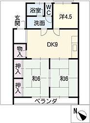 愛知県名古屋市名東区貴船3丁目の賃貸マンションの間取り