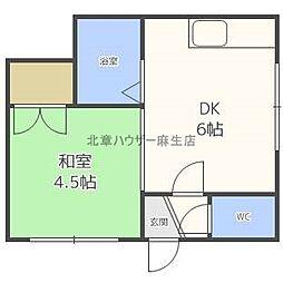 ドミ麻生II[1階]の間取り