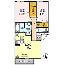 アパートメントy[1階]の間取り