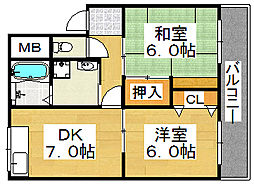 共立マンション[2階]の間取り