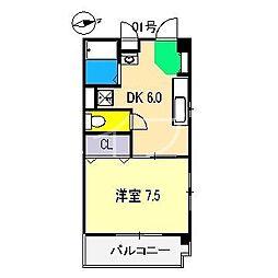ハイツOZU城北[4階]の間取り