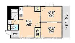 メゾンドール天王寺[3階]の間取り