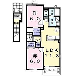 ピエスB[2階]の間取り