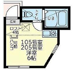 横浜市営地下鉄ブルーライン 三ツ沢下町駅 徒歩10分の賃貸アパート 1階ワンルームの間取り