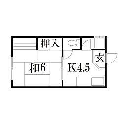 静岡県浜松市中区龍禅寺町の賃貸アパートの間取り