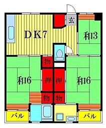 ビレッジハウス江戸川台3号棟[4階]の間取り