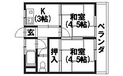 マンション千鶴荘[303号室]の間取り