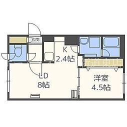 北海道札幌市東区北四十三条東1丁目の賃貸マンションの間取り