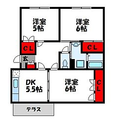 サンファミールA[1階]の間取り